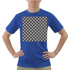 Modern Dots In Squares Mosaic Black White Dark T Shirt by EDDArt