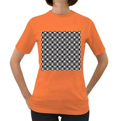 Modern Dots In Squares Mosaic Black White Women s Dark T Shirt by EDDArt