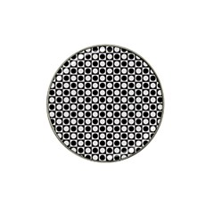 Modern Dots In Squares Mosaic Black White Hat Clip Ball Marker (4 pack)