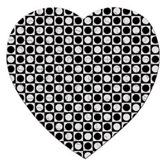 Modern Dots In Squares Mosaic Black White Jigsaw Puzzle (heart) by EDDArt
