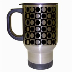 Modern Dots In Squares Mosaic Black White Travel Mug (Silver Gray)