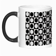 Modern Dots In Squares Mosaic Black White Morph Mugs