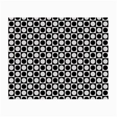 Modern Dots In Squares Mosaic Black White Small Glasses Cloth