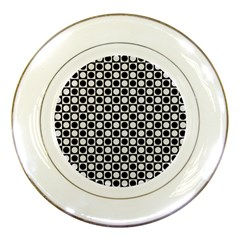 Modern Dots In Squares Mosaic Black White Porcelain Plates by EDDArt