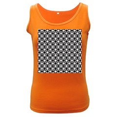 Modern Dots In Squares Mosaic Black White Women s Dark Tank Top