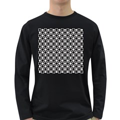 Modern Dots In Squares Mosaic Black White Long Sleeve Dark T-Shirts