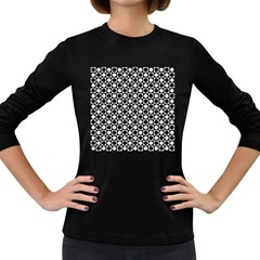 Modern Dots In Squares Mosaic Black White Women s Long Sleeve Dark T Shirts by EDDArt
