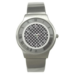 Modern Dots In Squares Mosaic Black White Stainless Steel Watch by EDDArt