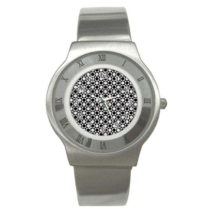 Modern Dots In Squares Mosaic Black White Stainless Steel Watch