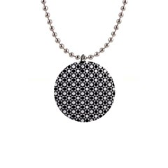 Modern Dots In Squares Mosaic Black White Button Necklaces