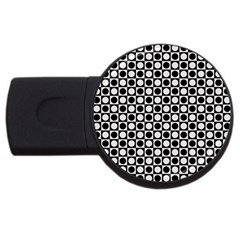 Modern Dots In Squares Mosaic Black White Usb Flash Drive Round (4 Gb)  by EDDArt