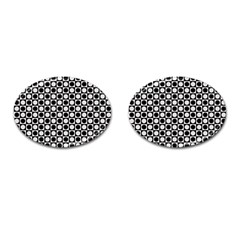 Modern Dots In Squares Mosaic Black White Cufflinks (Oval)