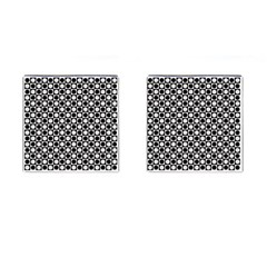 Modern Dots In Squares Mosaic Black White Cufflinks (square) by EDDArt