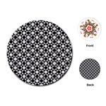 Modern Dots In Squares Mosaic Black White Playing Cards (Round)