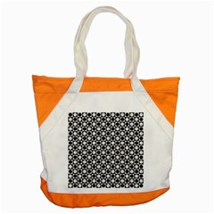 Modern Dots In Squares Mosaic Black White Accent Tote Bag by EDDArt