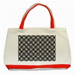 Modern Dots In Squares Mosaic Black White Classic Tote Bag (Red)