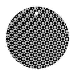 Modern Dots In Squares Mosaic Black White Round Ornament (two Sides)  by EDDArt