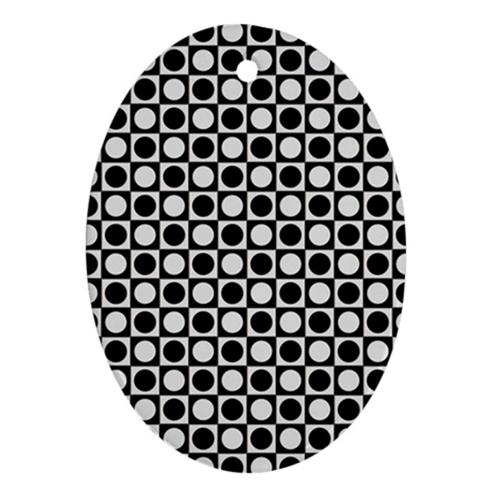 Modern Dots In Squares Mosaic Black White Oval Ornament (Two Sides)