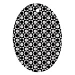 Modern Dots In Squares Mosaic Black White Oval Ornament (Two Sides) Back
