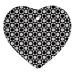 Modern Dots In Squares Mosaic Black White Heart Ornament (2 Sides)