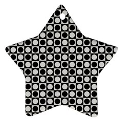 Modern Dots In Squares Mosaic Black White Star Ornament (two Sides)  by EDDArt