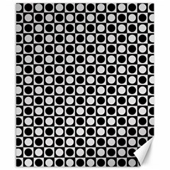 Modern Dots In Squares Mosaic Black White Canvas 8  X 10  by EDDArt