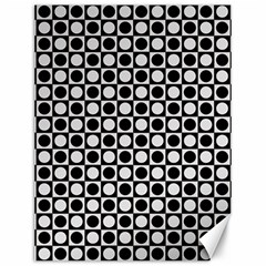 Modern Dots In Squares Mosaic Black White Canvas 12  x 16