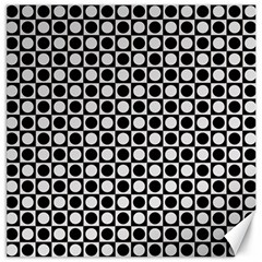 Modern Dots In Squares Mosaic Black White Canvas 20  x 20