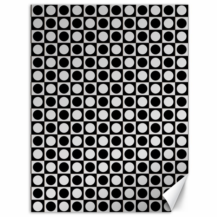 Modern Dots In Squares Mosaic Black White Canvas 36  x 48