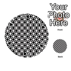 Modern Dots In Squares Mosaic Black White Playing Cards 54 (round)  by EDDArt