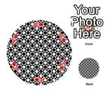 Modern Dots In Squares Mosaic Black White Playing Cards 54 (Round)  Front - DiamondA