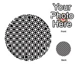 Modern Dots In Squares Mosaic Black White Playing Cards 54 (Round)  Front - Spade9