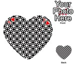 Modern Dots In Squares Mosaic Black White Playing Cards 54 (Heart)  Front - Heart7