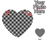 Modern Dots In Squares Mosaic Black White Playing Cards 54 (Heart)  Front - Heart9