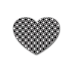 Modern Dots In Squares Mosaic Black White Rubber Coaster (heart)  by EDDArt
