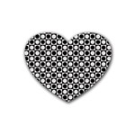 Modern Dots In Squares Mosaic Black White Heart Coaster (4 pack)
