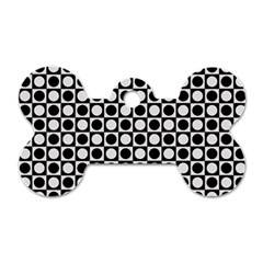 Modern Dots In Squares Mosaic Black White Dog Tag Bone (two Sides) by EDDArt