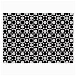 Modern Dots In Squares Mosaic Black White Large Glasses Cloth (2-Side)