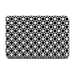 Modern Dots In Squares Mosaic Black White Small Doormat