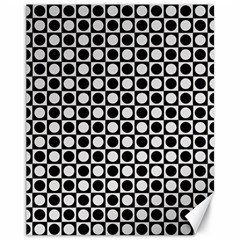 Modern Dots In Squares Mosaic Black White Canvas 11  x 14