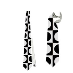 Modern Dots In Squares Mosaic Black White Neckties (one Side)
