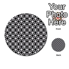 Modern Dots In Squares Mosaic Black White Multi Purpose Cards (round)  by EDDArt