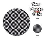 Modern Dots In Squares Mosaic Black White Multi-purpose Cards (Round)  Front 12
