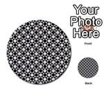 Modern Dots In Squares Mosaic Black White Multi-purpose Cards (Round)  Back 13