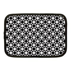 Modern Dots In Squares Mosaic Black White Netbook Case (Medium)