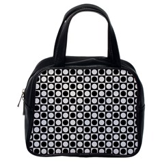 Modern Dots In Squares Mosaic Black White Classic Handbags (One Side)