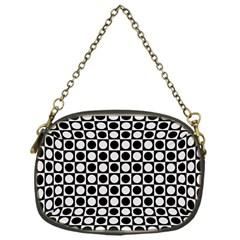 Modern Dots In Squares Mosaic Black White Chain Purses (one Side)
