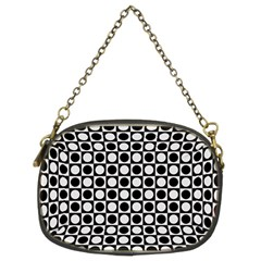 Modern Dots In Squares Mosaic Black White Chain Purses (two Sides)  by EDDArt