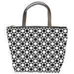 Modern Dots In Squares Mosaic Black White Bucket Bags