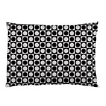Modern Dots In Squares Mosaic Black White Pillow Case